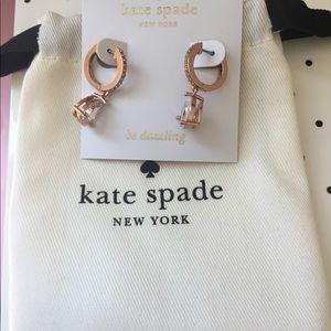 Kate Spade Save The Date huggie rosegold earrings
